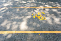 Bicycle path. Bike path in the park royalty free stock photography