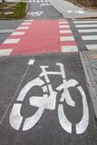 Bicycle path in both directions royalty free stock photo