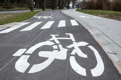 Bicycle path in both directions royalty free stock photography