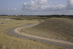Bicycle path and footpath through the dunes at Petten, The Netherlands Stock Photography
