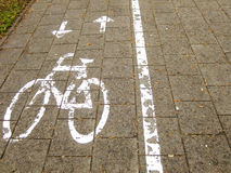 Bicycle Path. With green Area and Pedestrian way nearby Royalty Free Stock Photography