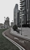 Bicycle path in milan new business district porta genova Stock Photography