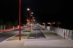 Bicycle path on night Stock Images