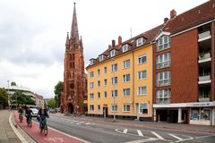 Bicycle path in the old town royalty free stock images