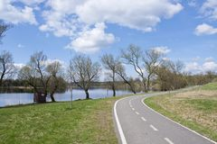Bicycle path in the park Royalty Free Stock Images