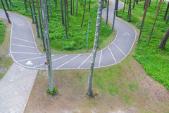 Bicycle path in the park. Stock Photo