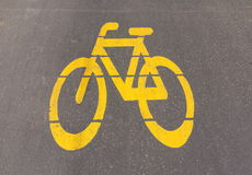 Bicycle path sign. Sign on the road symbolizing the lane for bikers Royalty Free Stock Images