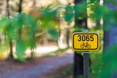 Bicycle path sign. Autumn cycle path in the Bohemian Paradise stock photo