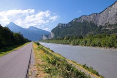 Bicycle path in Switzerland Royalty Free Stock Photos