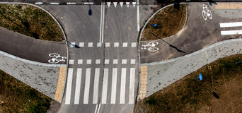 Bicycle path top view, bicycle road Royalty Free Stock Photo