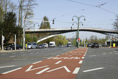 Bicycle path and traffic lane Royalty Free Stock Photo
