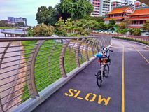 Bicycle paths. At a cricular bridge along Ulu Pandan Park Connector Network (PCN) in Singapore Royalty Free Stock Photo