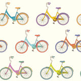 Bicycle pattern. Perfect seamless pattern with colored cartoon urban bicycles. Beautiful outdoor sport background. Cute fully editable  texture drawn in vector Stock Images