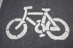 Bicycle pattern printed on the road Stock Photo