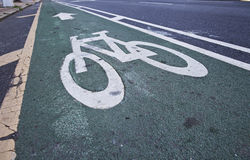 Bicycle Pavement. Bicycle lane in the street Stock Photography