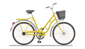 Bicycle pedal vehicle with travel basket vector isolated icon Stock Photography