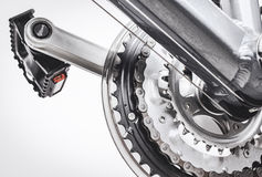 Bicycle pedals and gear system Stock Image