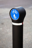 Bicycle and pedestrian lane road sign Royalty Free Stock Photos