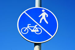 Bicycle and pedestrian lane sign Stock Photos