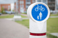 Bicycle and pedestrian lane sign Royalty Free Stock Photography