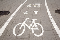 Bicycle and Pedestrian Lane Sign Stock Image
