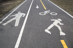 Bicycle and pedestrian path or Greenway along Belt Parkway in Brooklyn stock photos