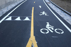 Bicycle and pedestrian path in Lower Manhattan Stock Images