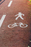 Bicycle and pedestrian paths signs Stock Photo