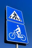 Bicycle and pedestrian road sign Stock Photography