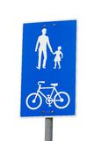 Bicycle and pedestrian shared route sign Stock Photos