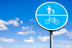 Bicycle and pedestrian shared route sign Stock Images