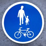 Bicycle and pedestrian sign Stock Photos