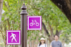Bicycle and pedestrian sign Royalty Free Stock Photos