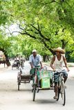Bicycle. People on bicycle in Myanmar Royalty Free Stock Photo