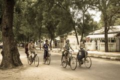 Bicycle. People on bicycle in Myanmar Stock Photography
