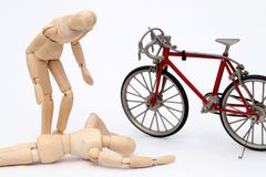 Bicycle and person collision accident Royalty Free Stock Images