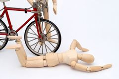 Bicycle and person collision accident Stock Image