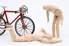 Bicycle and person collision accident Royalty Free Stock Photo