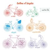 Bicycle picture set colorful vector illustrations on isolated background. Bicycle pictures invector illustrations on isolated background colored with style Stock Photography