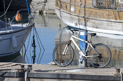 Bicycle on the pier Royalty Free Stock Photos