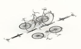 Bicycle plan with 3d model Royalty Free Stock Photos