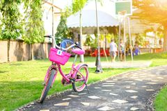 Bicycle in the playground with soft orange light Royalty Free Stock Photography