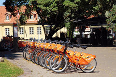 Bicycle in point of automatic bicycle rental Cyclocity in Old To Stock Image