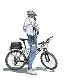 Bicycle Policeman. A policeman on a bicycle checking his gear Royalty Free Stock Photo