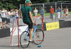 Bicycle polo player Royalty Free Stock Photo