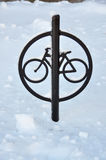 Bicycle Post in Snow Royalty Free Stock Images