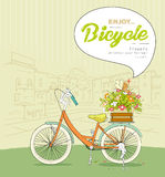 Bicycle pots flower sketching landscape building. Bicycle pots flower with bird, speech bubble, sketching landscape building background, illustration vector illustration