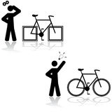 Bicycle problem. Concept illustration showing someone having a problem with a bicycle that has square wheels and then figuring out that it's solved with round Royalty Free Stock Image