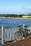 Bicycle at the Promenade of Quai Fleuri on Geneva Switzerland. Geneva, Switzerland - August 30, 2016: Bicycle at Promenade of Quai Fleuri on Geneva Lake in royalty free stock image