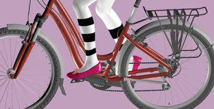 Bicycle on purple. Girl riding a red bicycle over purple background, only the legs of the girl are visible, 3D illustration, raster illustration Stock Photos